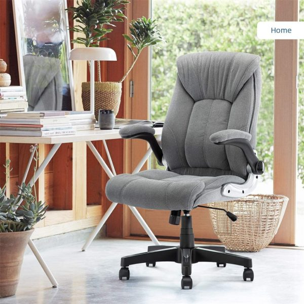 Office Leather Executive Chair Flip-Up Arms and Lumbar