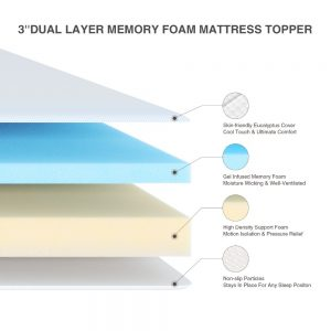 Gel Memory Foam Mattress Topper with Cover High
